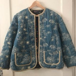 Vintage Embroidered Denim House Coat
